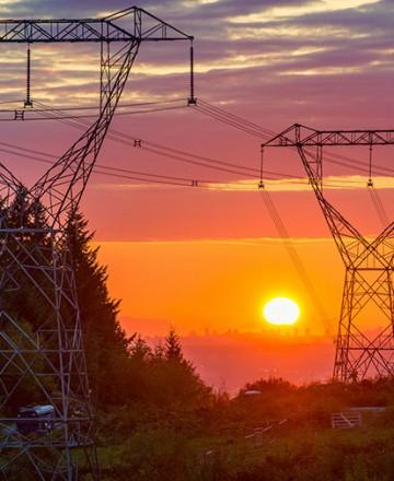 réseau électrique levé soleil